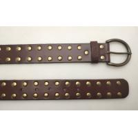 China Soft Type Prong Buckle Stud Pure Leather Belt For Mens In Brown Color wholesale