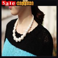 China Big Chunky Short Collar Chokers Pearl Beads Big Bib Necklace Clavicle Chain for Women on sale