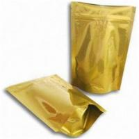 China Gold Glossy Plastic Pouches Packaging With Zipper / Gold Printing Packaging Bag wholesale