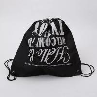China Logo Printed Drawstring Gift Bags / Travel Black Cotton Drawstring Bags on sale