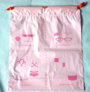 China Luxury Women's Plastic Drawstring Cosmetic Bag Customized , Pink wholesale