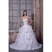 China Sexy Strapless White Long Organza Wedding Dress Bridal Gown With Lace wholesale