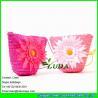 China LDMC-016 pink girls beach bag ,flower handbag ,wheat straw shoulder bag wholesale