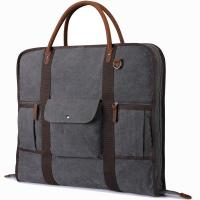 China Heavy Duty Canvas Men'S Weekender Garment Bag With Genuine Leather Trim on sale