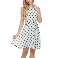 China Bow Waist Short Chiffon Summer Dresses , Plus Size Polka Dot Maxi Dress wholesale