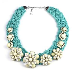 China Fashion Beaded necklace with flower Gemstone Pendant Necklace on sale