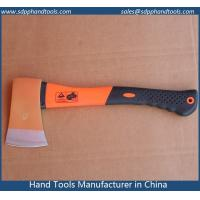 China felling axe with fiberglass handle with rubber grip, forged axe head, colorful plastic costed fiberglass handle wholesale