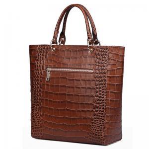 China Vintage Crocodile PU leather Handbags for Lady Fashion Shoulder Handbag Tan Color Tote Bag with Zip Pocket Bucket Bags wholesale