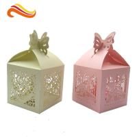 Quality Texture Customized  250G Peral Paper Gift Chocolate Packaging Boxes , Wedding Favor Boxes With Ribbons for sale