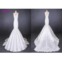 China Fish Tail Ladies Wedding Dress Long Tail Satin Lace Mermaid Style Wedding Dress wholesale