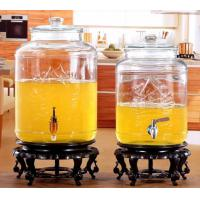 China 5L 8L Glass Storage Jars Stainless Steel Faucet For Orgnge Juice OEM Accepted wholesale