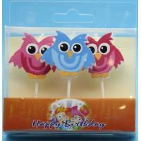 China 3 Little Owl Shaped Birthday Candles With Colorful Painting And White Plastic Toothpick wholesale