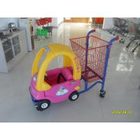 China Red Powder Coated childrens shopping cart travelator casters With Toy Car wholesale