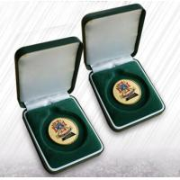 China Green Flocking Jewelry Velvet Box Coin Boxes Flocked Coins Packing For Ceremony wholesale