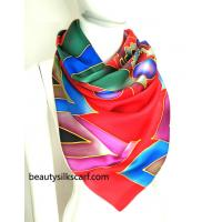 China Chinese opera mask silk scarves,100% silk twill scarf from factory direct, by hand drawing on sale