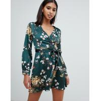 China OEM fashionable green floral satin wrap mini tea dress wholesale