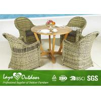 Quality Customized Outdoor Dining Furniture Sets With Solid Wood Table / 4 Rattan Chairs for sale