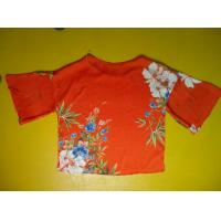 China Floral Printing Womens Loose Fitting Tops Flare Sleeves Round Neck 100 Silk Blouse wholesale
