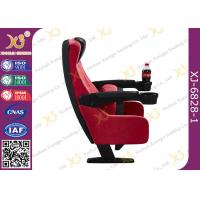Tipping Seat Plastic Components PU Cinema Theater Chairs With Drink Holder Manufactures