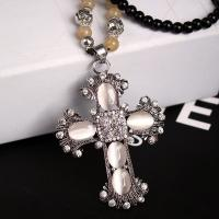 China Factory jewelry Direct Sale  popular new black bead opal cross necklace with long chain on sale