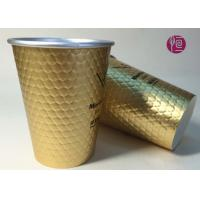 12oz Diamond Shape Ripple Wall In Double Wall Layer Paper Cup With Lid