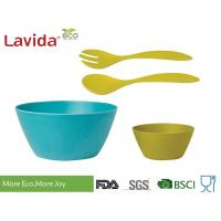 Buy cheap Biodegradable Bamboo Salad Bowl Set Melamine Serving BPA / Heavy Metals Free from wholesalers