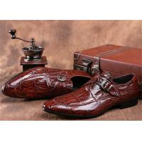 China Mens Single Monk Strap Shoes , Moc Toe Dress Shoes With Embossed Crocodile Pattern wholesale