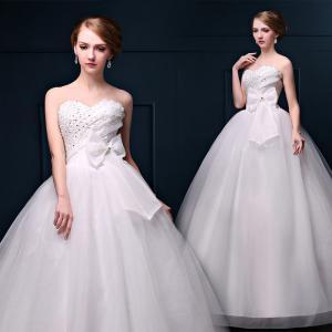China 2016 Spring Hot Sale High Waist Lace Bra Diamond Straps White Butterfly Sash Wedding Dress wholesale