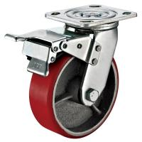 China Small Red Caster Wheels / Heavy Duty Locking Swivel Casters With Plate Fitting wholesale