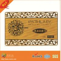 China custom size steel plated gold outline cutting out gold metal membership card wholesale