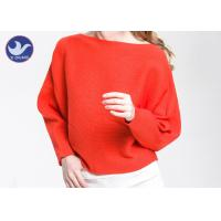 China Boat Neck  Womens Knit Pullover Sweater Lady Sexy Drop Shoulder Ottoman Knitted Jumper wholesale