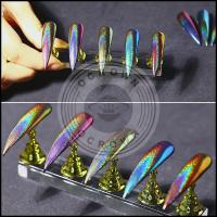 China Laser Chrome Mirror Peacock Rainbow Holographic Chameleon Nail Glitter Powder wholesale