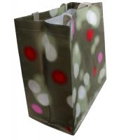 China Colorful dots PP Woven Reusable Carrier Bags , Light Grey Nylon Tape Handle wholesale