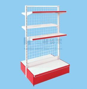 China OEM 3 Tier Corner Double - Side Metallic Supermaket Shelf on sale