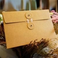 China Postcard Storage Packaging Kraft Paper Envelope With Button / String Closure wholesale