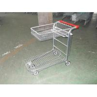 China Warehouse cargo plat form trolley with top folding basket and 4 swivel flat casters wholesale