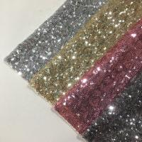 China Modern Silver Sequin Fabric , Sequin Lace Fabric Sparkly Mesh Garment Applied wholesale