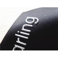 China Smooth Black Ribbon Silicone Screen Printing Label Thick Plate White 3D Logo wholesale