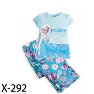 China Blue girl Frozen kid pajamas set on sale