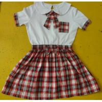 China 100% Cotton Checked Girls School Uniform Dresses , Summer Kids Uniform Dress wholesale