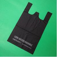 Buy cheap 100% biodegradable and compostable T-shirt bag, black color, size 0.025mm x (30 from wholesalers