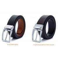 China Durable Genuine Leather Reversible Buckle Belt Two Side Full Grain Leather Belt Clamp Buckle Belt wholesale