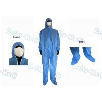 China Blue Disposable Medical Coveralls , Ultrasonic Seam Class I Disposable Work Suits wholesale