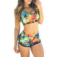China High Stretched Womens Swimming Suits Two Piece Swimwear 82% Nylon 18% Spandex wholesale
