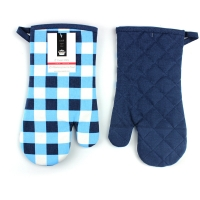 Buy cheap Blue Check Print Canvas Poly Cotton Cheap Custom Microwave Glove Oven Mitt from wholesalers