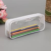 China Black and White Clear PVC Zipper Pen Pencil Case Big Capacity Pencil Bag Students Stationery Case wholesale
