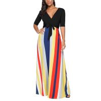 Buy cheap Newest Design Women V-neck Maxi Dress Plain Loose Swing Casual Long Jumpsuit from wholesalers