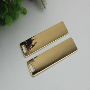 China Super quality custom handbag hardware gold 70 mm length rectangle shape metal logo plate without letters wholesale