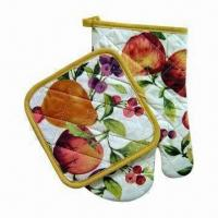 China Oven Mitt/Pot Holders, Made of Polyester Mateiral wholesale