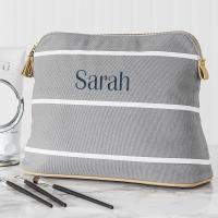 China Personalized Blue Stripe Cotton Canvas Cosmetic Bag Bag wholesale